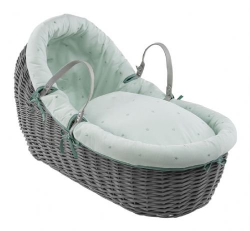 Willow Wrap Over Bassinet in Grey - Lullaby Stars Mint